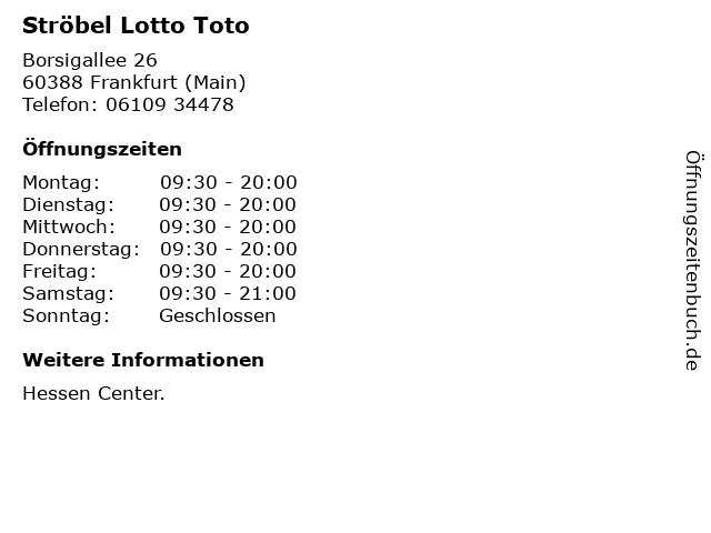 Ströbel Lotto Toto in Frankfurt (Main): Adresse und Öffnungszeiten