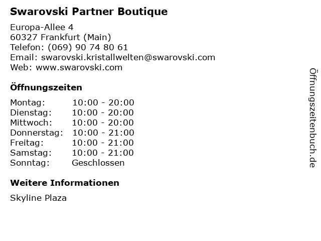 Swarovski Partner Boutique in Frankfurt (Main): Adresse und Öffnungszeiten
