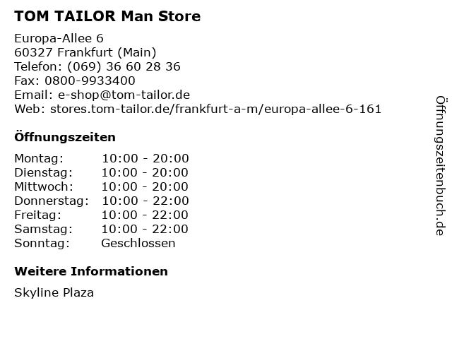 TOM TAILOR Store in Frankfurt (Main): Adresse und Öffnungszeiten