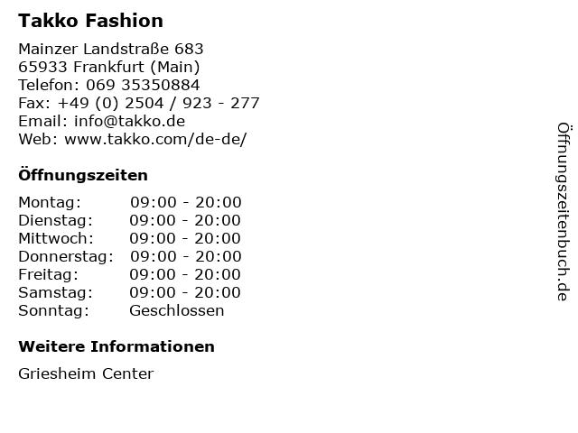 Takko Fashion in Frankfurt (Main): Adresse und Öffnungszeiten