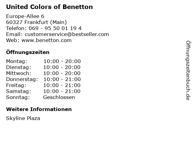 United Colors of Benetton in Frankfurt (Main): Adresse und Öffnungszeiten