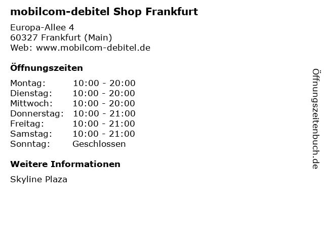 mobilcom-debitel Shop Frankfurt in Frankfurt (Main): Adresse und Öffnungszeiten