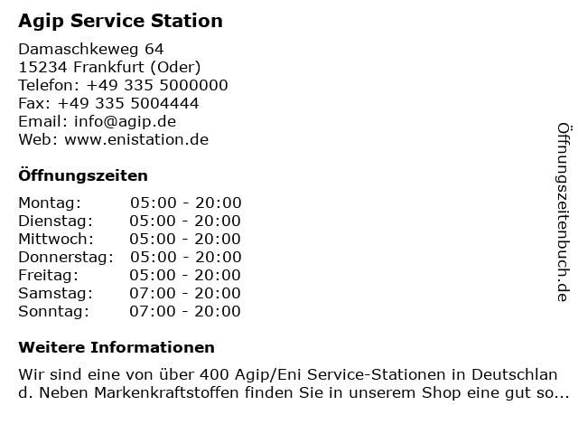 Agip Service Station in Frankfurt (Oder): Adresse und Öffnungszeiten