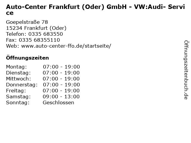 Auto-Center Frankfurt (Oder) GmbH - VW:Audi- Service in Frankfurt (Oder): Adresse und Öffnungszeiten
