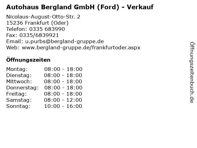 Autohaus Bergland GmbH (Ford) - Verkauf in Frankfurt (Oder): Adresse und Öffnungszeiten