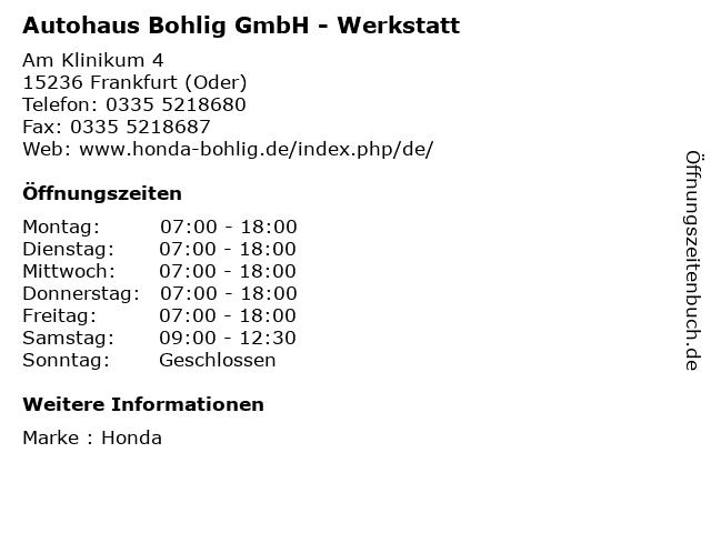 Autohaus Bohlig GmbH - Werkstatt in Frankfurt (Oder): Adresse und Öffnungszeiten
