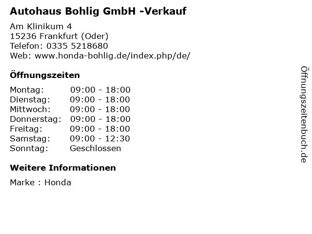 Autohaus Bohlig GmbH -Verkauf in Frankfurt (Oder): Adresse und Öffnungszeiten