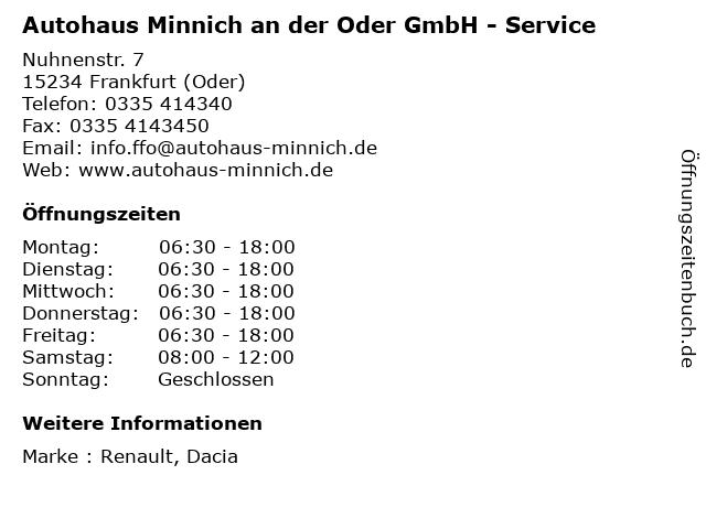 Autohaus Minnich an der Oder GmbH - Service in Frankfurt (Oder): Adresse und Öffnungszeiten