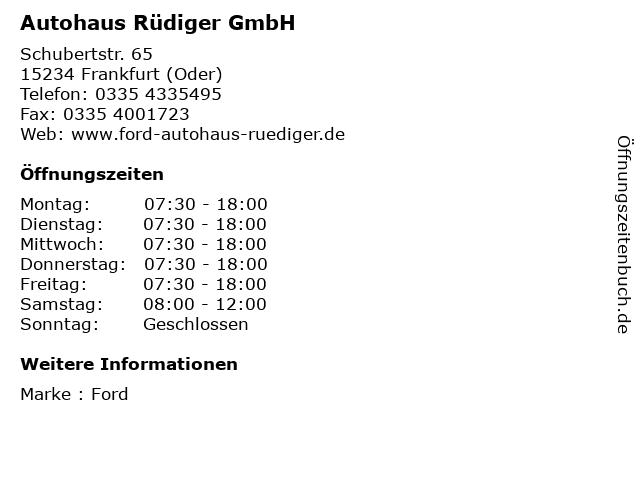 Autohaus Rüdiger GmbH in Frankfurt (Oder): Adresse und Öffnungszeiten