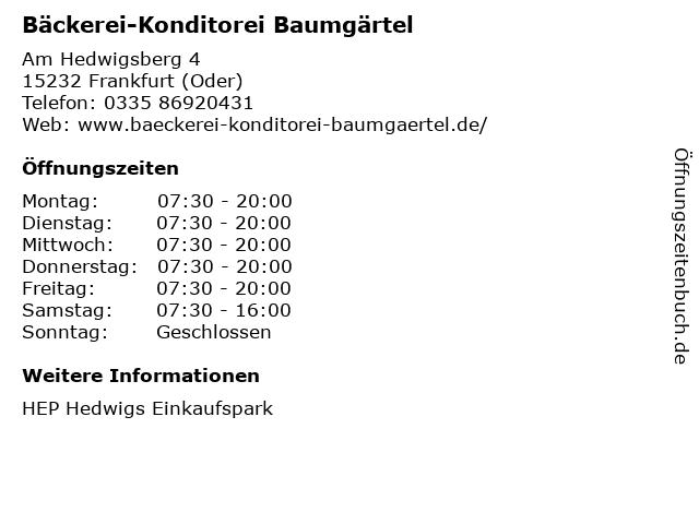Bäckerei-Konditorei Baumgärtel in Frankfurt (Oder): Adresse und Öffnungszeiten