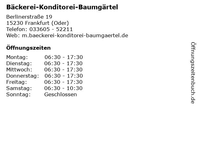 Bäckerei-Konditorei-Baumgärtel in Frankfurt (Oder): Adresse und Öffnungszeiten