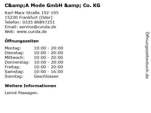 C&A Mode GmbH & Co. KG in Frankfurt (Oder): Adresse und Öffnungszeiten