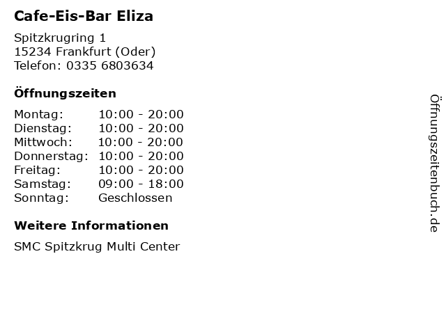 Cafe-Eis-Bar Eliza in Frankfurt (Oder): Adresse und Öffnungszeiten