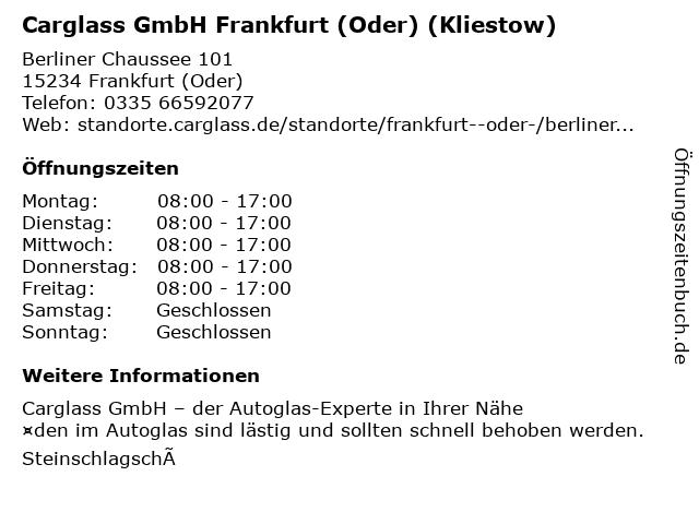 Carglass GmbH Frankfurt (Oder) (Kliestow) in Frankfurt (Oder): Adresse und Öffnungszeiten