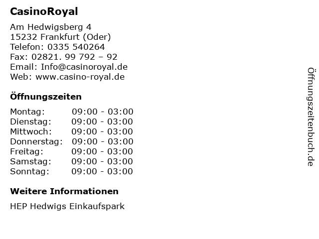 CasinoRoyal in Frankfurt (Oder): Adresse und Öffnungszeiten