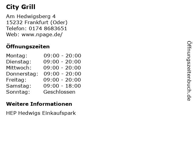 City Grill in Frankfurt (Oder): Adresse und Öffnungszeiten