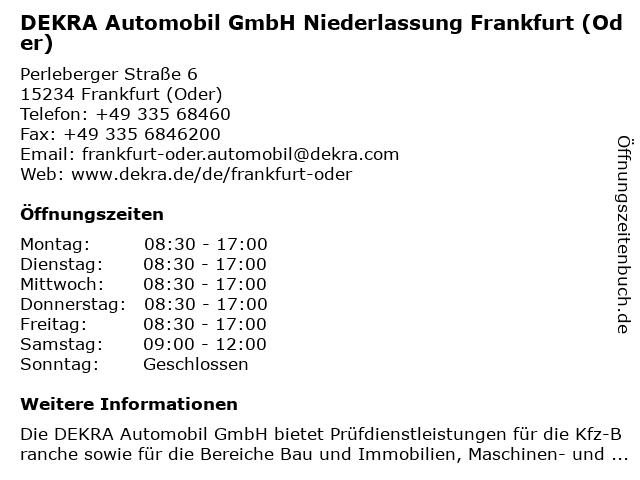 DEKRA Automobil GmbH Niederlassung Frankfurt (Oder) in Frankfurt (Oder): Adresse und Öffnungszeiten