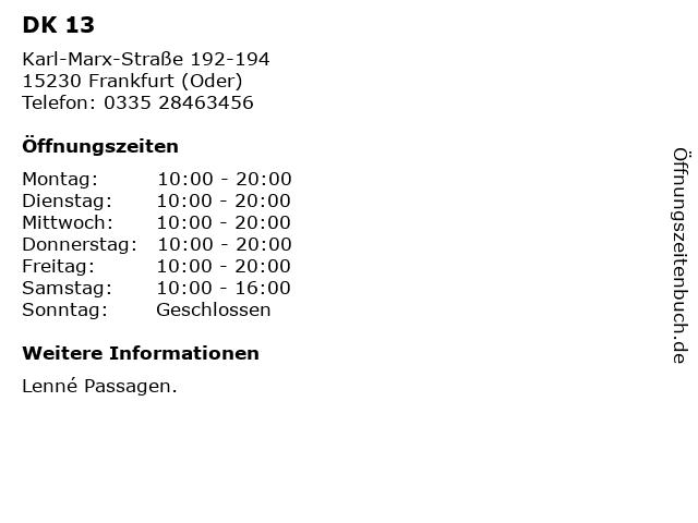 DK 13 in Frankfurt (Oder): Adresse und Öffnungszeiten