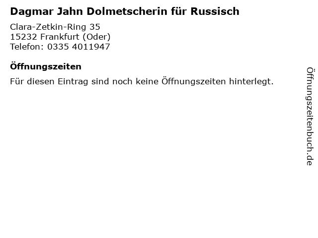 Dagmar Jahn Dolmetscherin für Russisch in Frankfurt (Oder): Adresse und Öffnungszeiten