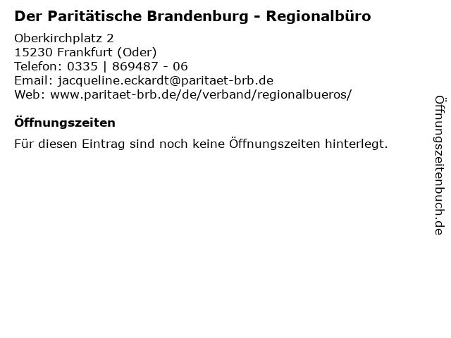 Der Paritätische Brandenburg - Regionalbüro in Frankfurt (Oder): Adresse und Öffnungszeiten