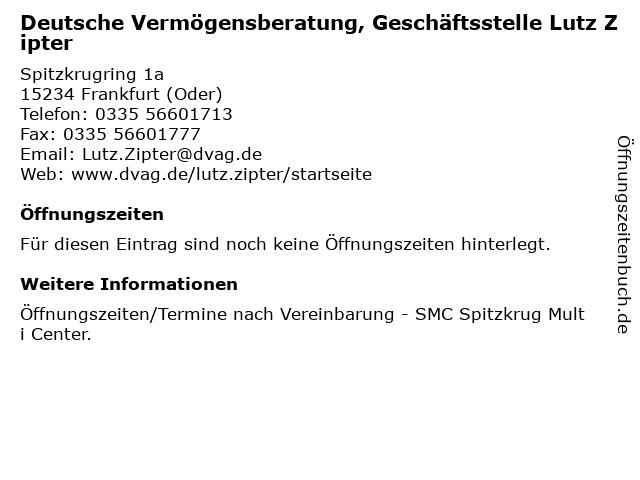 Deutsche Vermögensberatung, Geschäftsstelle Lutz Zipter in Frankfurt (Oder): Adresse und Öffnungszeiten