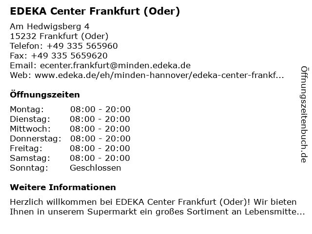 EDEKA Center Frankfurt (Oder) in Frankfurt (Oder): Adresse und Öffnungszeiten