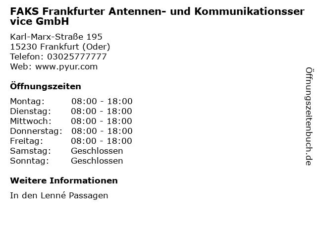FAKS Frankfurter Antennen- und Kommunikationsservice GmbH in Frankfurt (Oder): Adresse und Öffnungszeiten
