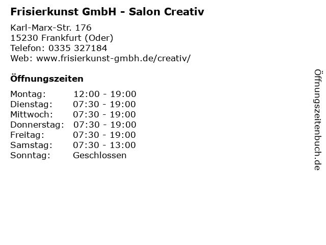Frisierkunst GmbH - Salon Creativ in Frankfurt (Oder): Adresse und Öffnungszeiten