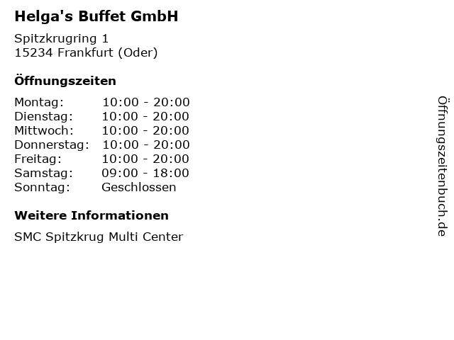 Helga's Buffet GmbH in Frankfurt (Oder): Adresse und Öffnungszeiten