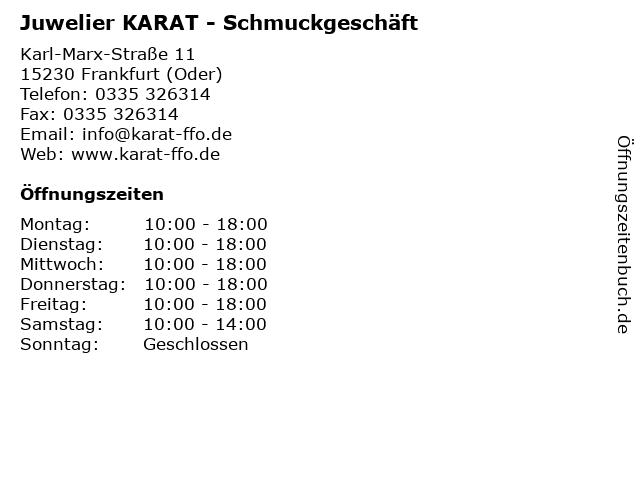 Juwelier KARAT - Schmuckgeschäft in Frankfurt (Oder): Adresse und Öffnungszeiten