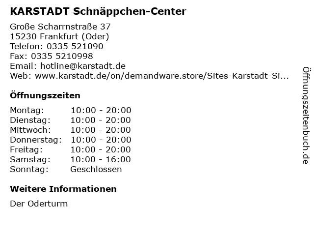 KARSTADT Schnäppchen-Center in Frankfurt (Oder): Adresse und Öffnungszeiten