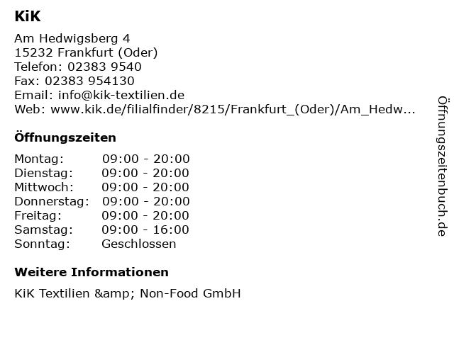 KiK Textilien & Non-Food GmbH in Frankfurt (Oder): Adresse und Öffnungszeiten