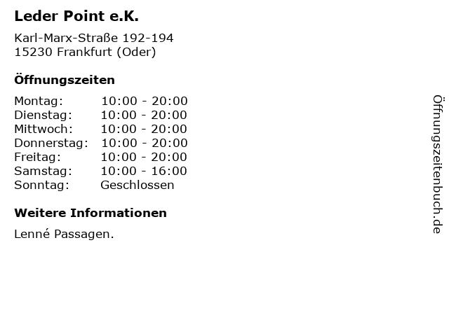 Leder Point e.K. in Frankfurt (Oder): Adresse und Öffnungszeiten