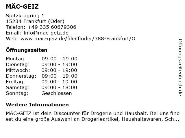 MÄC GEIZ Handelsgesellschaft mbH in Frankfurt: Adresse und Öffnungszeiten