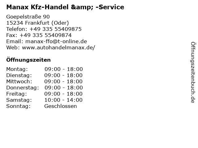 Manax Kfz-Handel & -Service in Frankfurt (Oder): Adresse und Öffnungszeiten