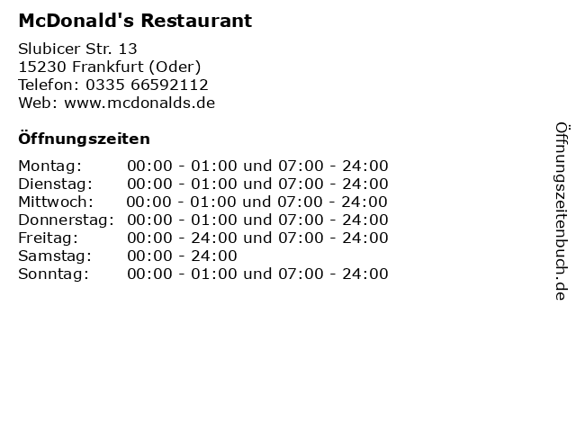 McDonald's Restaurant in Frankfurt (Oder): Adresse und Öffnungszeiten