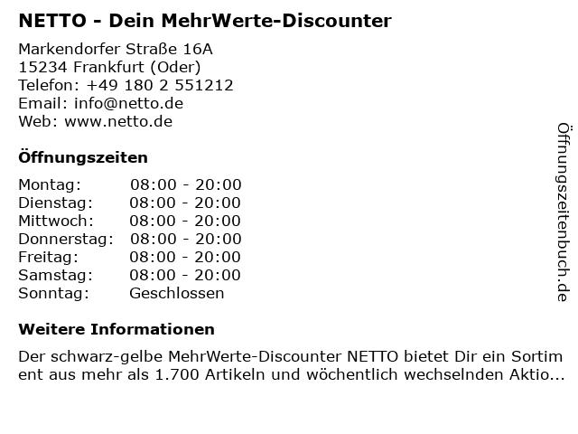 NETTO - Dein MehrWerte-Discounter in Frankfurt (Oder): Adresse und Öffnungszeiten