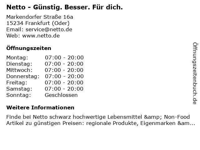 Netto Deutschland - schwarz-gelber Discounter mit dem Scottie in Frankfurt (Oder): Adresse und Öffnungszeiten