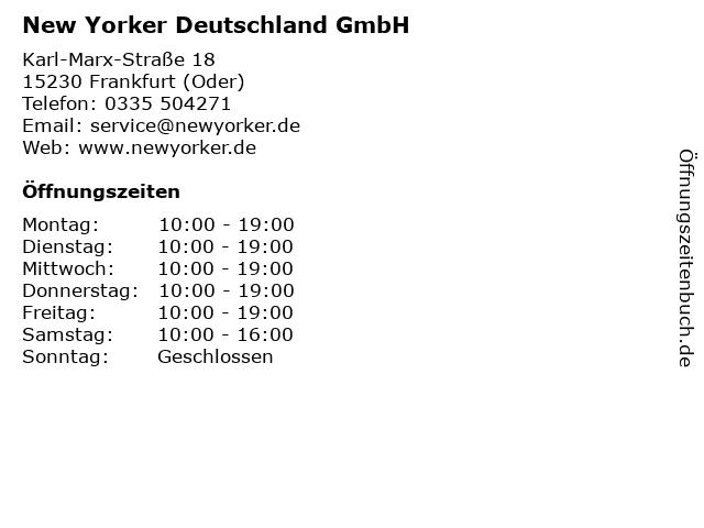 New Yorker Deutschland GmbH in Frankfurt (Oder): Adresse und Öffnungszeiten