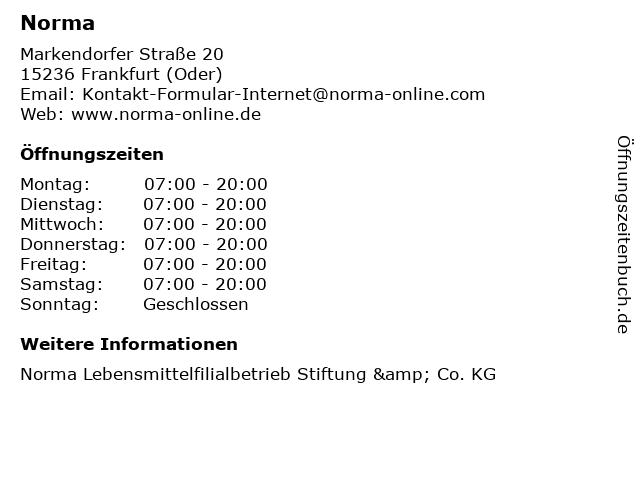 Norma in Frankfurt (Oder): Adresse und Öffnungszeiten