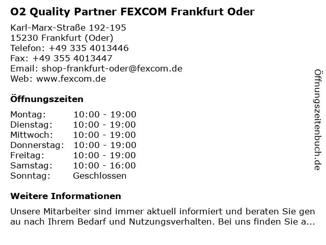 O2 Quality Partner FEXCOM Frankfurt Oder in Frankfurt (Oder): Adresse und Öffnungszeiten