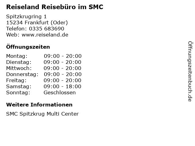 Reiseland Reisebüro im SMC in Frankfurt (Oder): Adresse und Öffnungszeiten