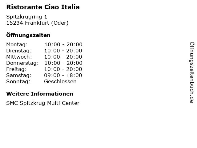 Ristorante Ciao Italia in Frankfurt (Oder): Adresse und Öffnungszeiten