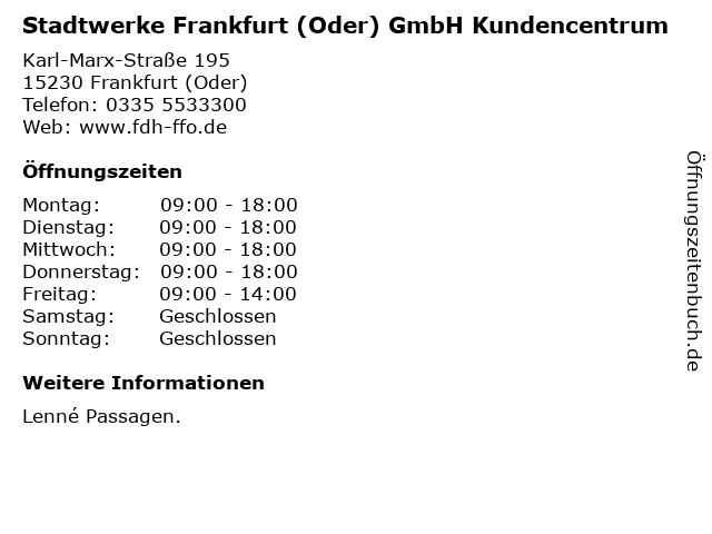 Stadtwerke Frankfurt (Oder) GmbH Kundencentrum in Frankfurt (Oder): Adresse und Öffnungszeiten