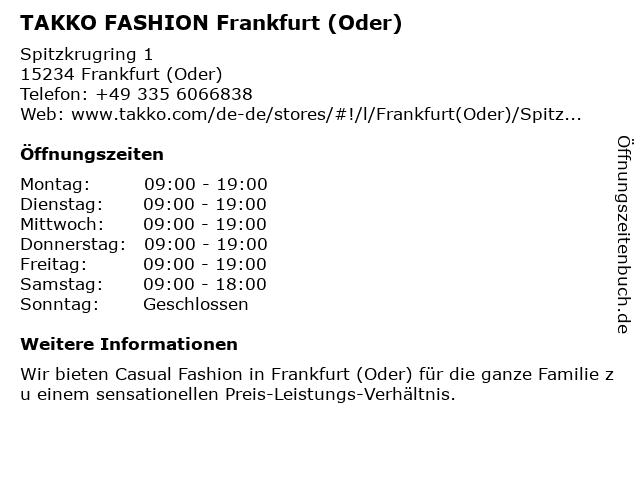Takko Fashion in Frankfurt (Oder): Adresse und Öffnungszeiten