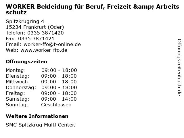 WORKER Bekleidung für Beruf, Freizeit & Arbeitsschutz in Frankfurt (Oder): Adresse und Öffnungszeiten