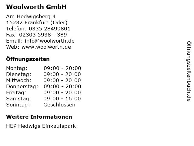 Woolworth GmbH in Frankfurt (Oder): Adresse und Öffnungszeiten