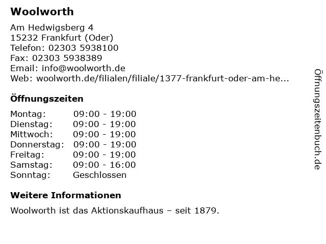 Woolworth in Frankfurt (Oder): Adresse und Öffnungszeiten