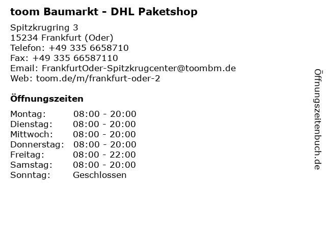 toom Baumarkt - DHL Paketshop in Frankfurt (Oder): Adresse und Öffnungszeiten