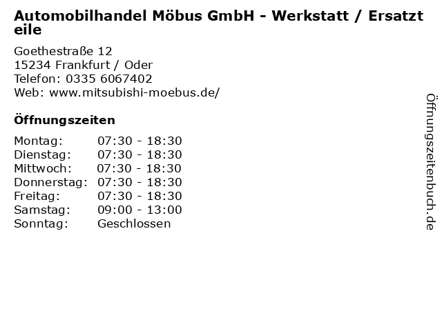 Automobilhandel Möbus GmbH - Werkstatt / Ersatzteile in Frankfurt / Oder: Adresse und Öffnungszeiten